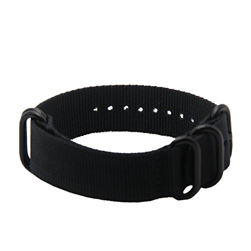 Replacement 18mm nato strap nylon watch band - Black, 5 ring Black PVD Buckle