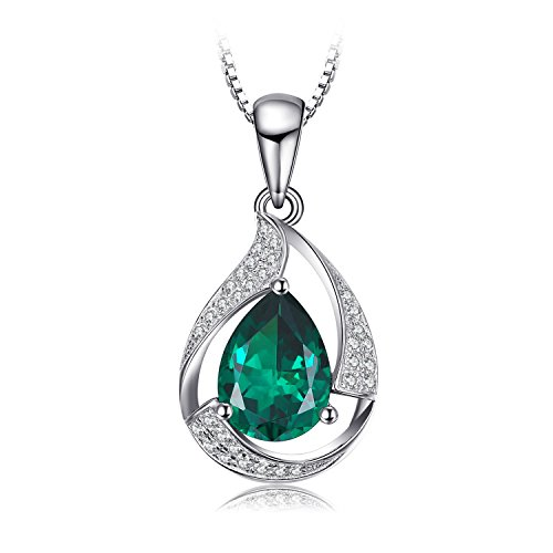 JewelryPalace Pear 2.7ct Simulated Green Nano Russian Emerald 925 Sterling Silver Pendant Necklace 18 Inches (Russian Emerald)