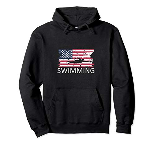 USA Swimming Hoodie Distressed US Flag Swimming Hoody (Hoody Team Sweatshirt Color)