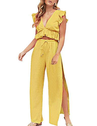 Holiday 2 Piece Outfit - FANCYINN Womens 2 Pieces Outfits Deep V Neck Crop Top Side Slit Drawstring Wide Leg Pants Set Jumpsuits Turmeric L