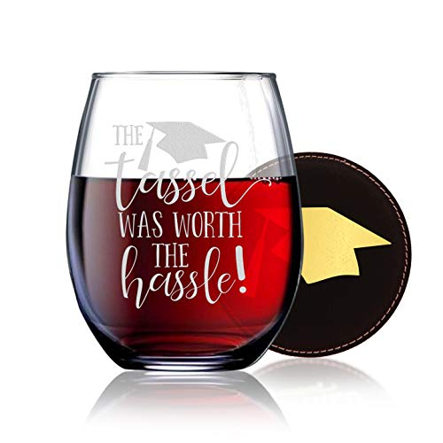 The Tassel Was Worth The Hassle - Class of 2019 Graduation Gifts - 21 oz Stemless Wine Glass w Coaster - Masater's or Undergraduate Degree Gifts For Women - Grad School -