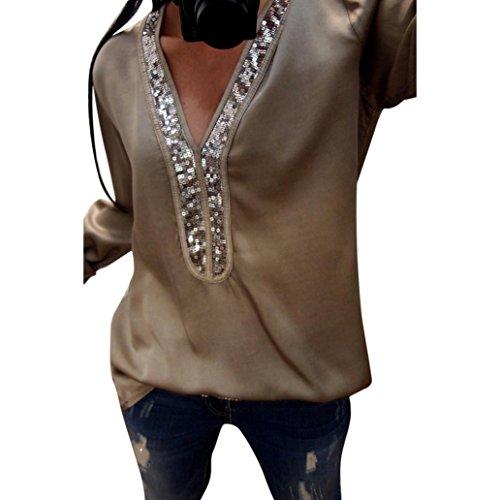 Femmes Mode Casual T Blouse Shirt Col en Paillettes Longues Tops Femme Veste Sexy V VJGOAL Manches Femme Casual dwAYYg