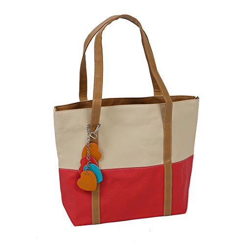 SODIAL (R) Donna Borsa Handbag a Spalla Righe in PU Cuoio Beige Rosso con Ciondolo Cuore