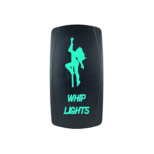 Green Laser Rocker Switch Backlit STRIPPER POLE WHIP LIGHTS 12V Bright Light Powersports [SLR1209BLPFBA] (Stripper Strippers Pole)
