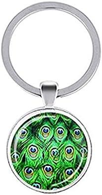 Llavero de plumas de pavo real, llavero de pavo real, plumas de pájaros, azul y verde esmeralda