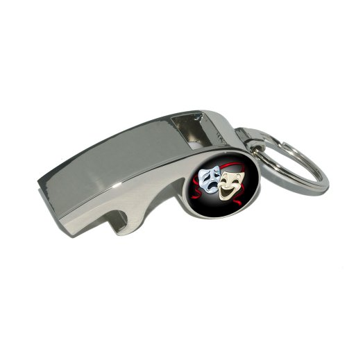 Drama Comedy Tragedy Masks - Acting Theatre Theater - Plated Metal Whistle Bottle Opener Keychain Key Ring Comedy Tragedy Ring