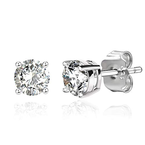 925 Sterling Silver Cubic Zirconia Classic Basket Prong Set Eternity Stud Earrings, - Earrings 4 Stud Mm