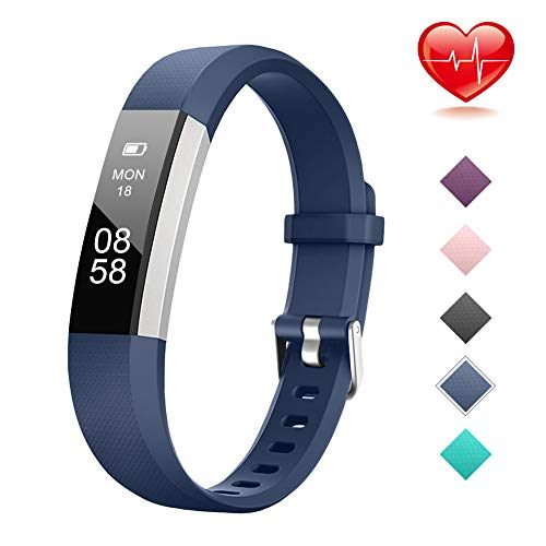 Lintelek Fitness Tracker, Slim Activity Tracker with Heart Rate Monitor, IP67 Waterproof Step Counter, Calorie Counter, Pedometer for Kids Women and Men (Walmart Fit Watches Bands)