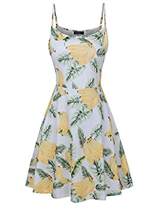 FANSIC Womens Sleeveless Floral Printed Swing Sundress Spaghetti Strap Dresses