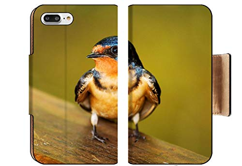 Liili Premium Apple iPhone 8 Plus Flip Pu Wallet Case Barn Swallow Hirundo Rustica Perching on a Fence in Maryland During The Spring Image ID 19844083