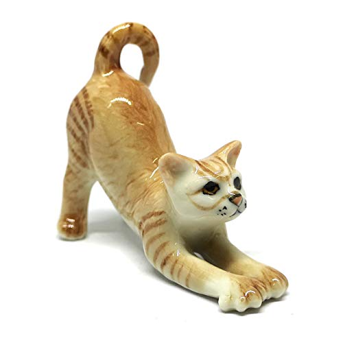 ZOOCRAFT Miniature Collectible Ceramic Brown Cute Cat for sale  Delivered anywhere in USA