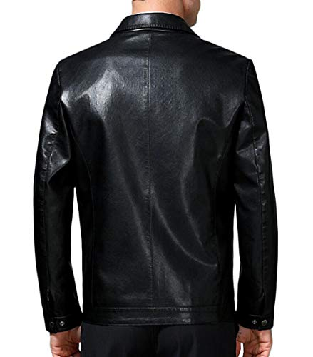 Jacket Lapel Coat Winter Black And Leather Leather Warm Fashion Men's Clothing Collar Autumn EqgTw5CCn