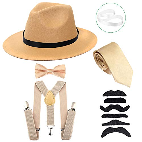 Men's Roaring 1920s Set Manhattan Fedora Hat,Y-Back Suspenders & Pre Tied Bow Tie, Gangster Tie & Fake Mustache (OneSize, Champagne Hat & Champagne Suspenders)]()