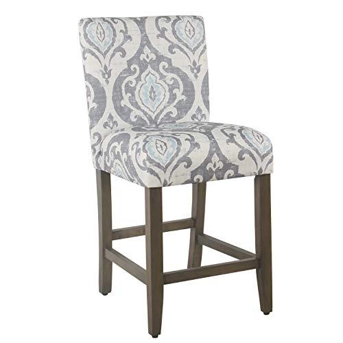 HomePop Upholstered Counter Height Barstool,  24-Inch, Suri Blue