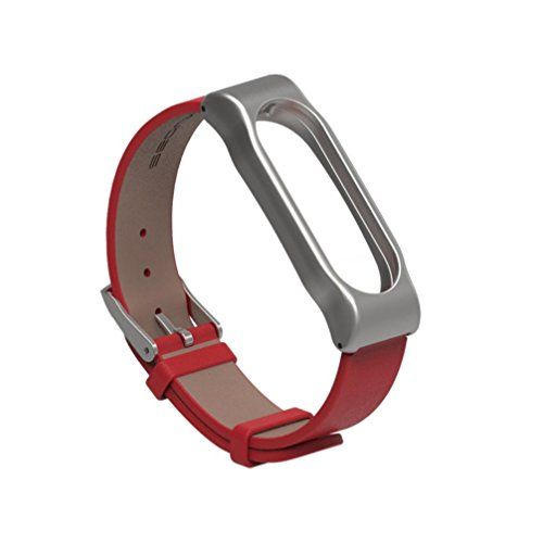 Price comparison product image Alonea Fashion Leather Smart Wrist Watch Strap for Xiaomi Miband 2 (Red+silver)