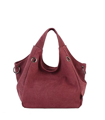 Puluo Women's Large Capacity Bags Sling Shoulder Red Black Canvas Hobo Brick qqdrHwO