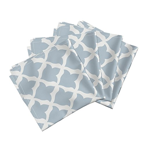 Roostery Quatrefoil Trellis Blue Fleur De Lis Avignon Linen Cotton Dinner Napkins Fleur in Soft Blue by Willowlanetextiles Set of 4 Dinner Napkins (Best Food In Avignon)