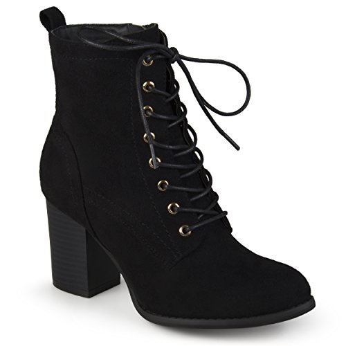 Journee Collection Womens Stacked Heel Lace-up Booties Black 80hRowVM