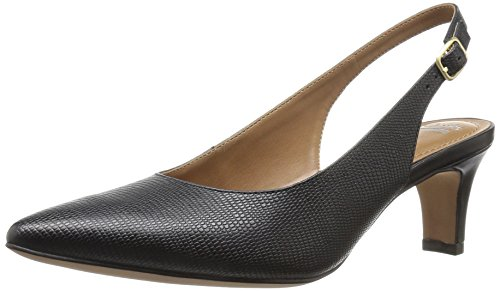 Clarks Womens Crewso Riley Dress Pump Stampa Lucertola In Pelle Nera