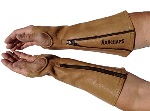 Arm Chaps Leather Protective Arm Guard Sleeves to Prevent Cuts, Scratches, Bruising & Protect Thin Skin. For Male & Female all ages. Brown (1 Pair/Large). Left & Right form-fitting. by Arm Chaps (Image #2)