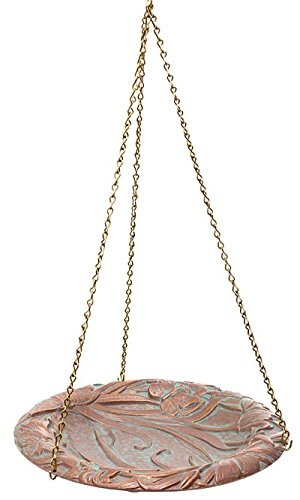 Whitehall Products Butterfly Hanging Birdbath, Copper Verdi
