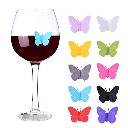 Wine Glass Markers Set of 10 Silicone Drink Glass Charms &Wine Charm Tags with Suction Cup (Butterfly assorted)