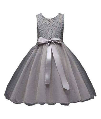 Horcute Lace Gauze One-piece Flower Girl Dress Gray 130#5-6Y ()
