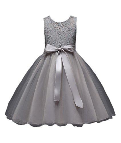 Horcute Lace Gauze One-piece Flower Girl Dress Gray -