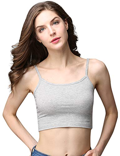 cunlin Crop Top Cami Camisole Summer Women Sexy Slim Sleeveless Spaghetti Strap Tank Top Grey XL
