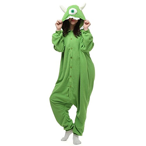 [Mike Wazowski Onesie Pajama Costume For Adults and Teenagers Small] (Monster Inc Mike Costume)