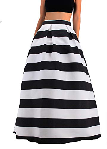 Novia's Choice Women African Floral Print Pleated High Waist Maxi Long A-Line Skirt(Horizontal Black Stripe - Cocktail Stripe