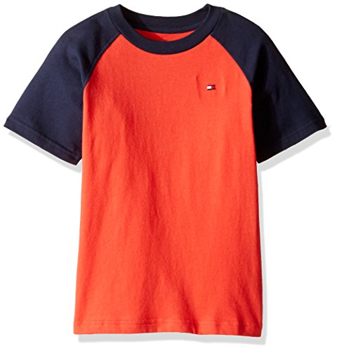 Short Sleeve Logo Raglan T-shirt - Tommy Hilfiger Big Boys' Short Sleeve Raglan Tee, Holly Red, Large (16/18)