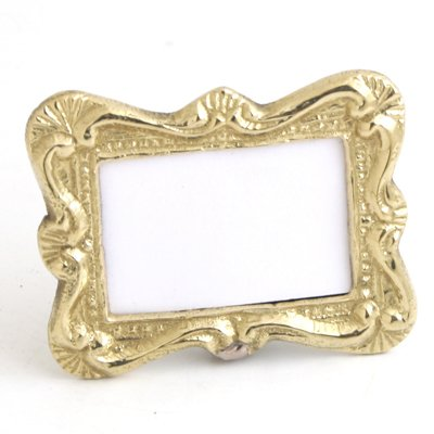 "Brass Place Card Photo Frame. 1 x 1/2"" Insert. - Set of 6"