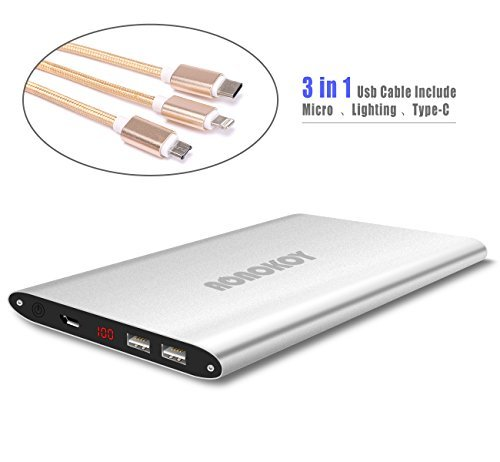 20000mAh holiday ability Bank,Aonokoy very lean Metal External Battery Pack,2 USB Ports by signifies of  Premium 3-in 1 USB Charging Cable for Apple iPhone,Samsung Galaxy and alot more (Silver)