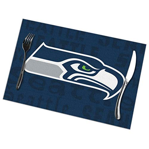 Marrytiny Design Colourful Placemats Heat Resistant Table Mats Seattle Seahawks Football Team 100% Polyester Dining Table Set of 6 Kitchen Coffee Mat 12 x 18 - Runner Nfl Mat