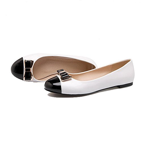 Leather Heels Toe Shoes Patent Low Pumps Color Assorted Women's Round White Odomolor Eqw4IYc