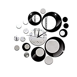 NYKKOLA Removable Diy Acrylic 3D Mirror Wall Sticker Decorative Clock, Black and Silver