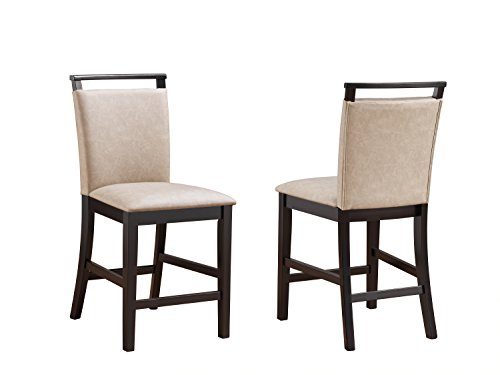 - Kings Brand Aloe Clay Finish Upholstered Faux Leather Counter Height Parsons Chairs, Set of 2