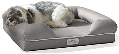 "PetFusion Small Pet Bed w/Solid 2.5"" Memory Foam, Waterproof liner, YKK premium zippers. [Ultimate Lounge 25x20x5.5; dog beds furniture also for cats]"