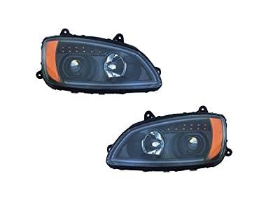 2008-2016 Kenworth T660 Set LED Bar Projector Headlights BLACK for OEM P541059100
