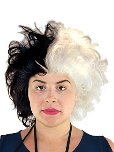 Cruella De Vil Wig | Cruella Deville Wig Black and White Dalmatian Costume Wig for Women and Girls for $<!--$19.99-->