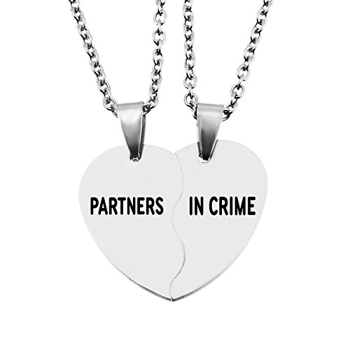 MJartoria Split Valentine Heart Partners in Crime Engraved Friendship BFF Necklaces Set of 2 (Split Heart-Silver)