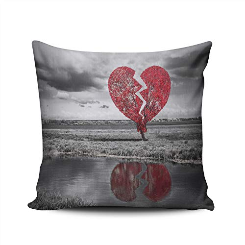 WEINIYA Bedroom Custom Decor Broken red Heart Tree Black and White Throw Pillow Cover Elegant Design Double Sides Printed Patterning Square 22x22 Inches ()