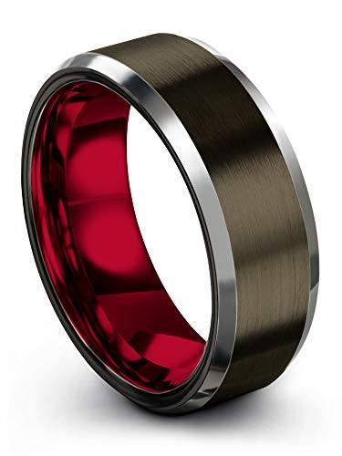Chroma Color Collection Tungsten Carbide Wedding Band Ring 8mm for Men Women Red Interior with Gunmetal Exterior Beveled Edge Brushed Polished Comfort Fit Anniversary Size 9.5