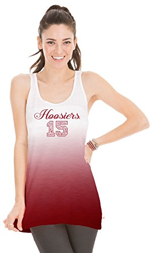 Venley NCAA Indiana Hoosiers Women's Jess Dip Dye Tank Top, Small, Crimson