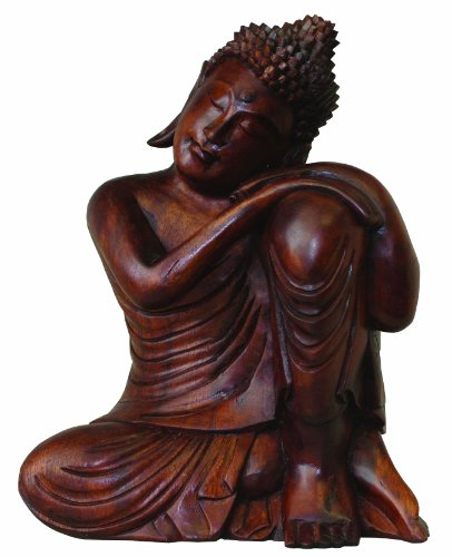 Carving Indonesian - Cohasset Gifts Carving Indonesian Resting Buddha Statue Hand Brown Mahogany Finish
