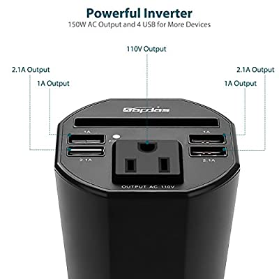 Bapdas 150W Car Cup Power Inverter DC 12V to 110V AC Converter with 1 AC Outlet and 4 USB Ports for Tablets, Laptops and Smartphones-Black