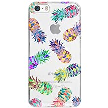 iPhone 4 Case, iPhone 4S Case, iPhone 4 4S Case with Flowers, LUOLNH Slim Shockproof Clear Floral Pattern Soft Flexible TPU Back Cover -7 Color Pineapple