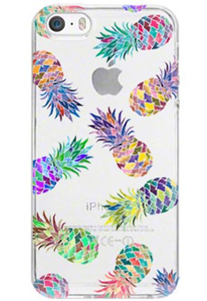LUOLNH Slim Shockproof Clear Floral Pattern Soft Flexible TPU Back Cover Case Compatible with iPhone 4/4S -7 Color Pineapple (Iphone 4s Case Girls)
