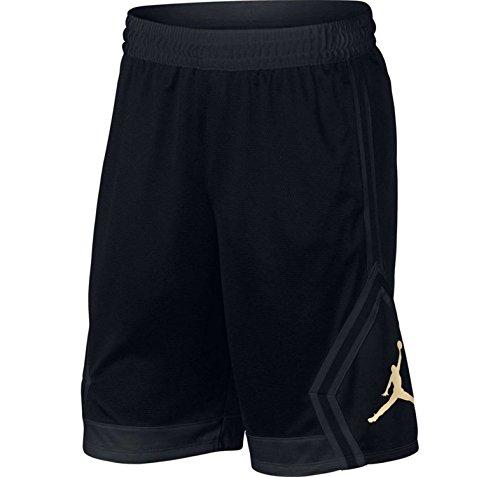 Nike Mens Jordan Rise Diamond Basketball Shorts Black Gold 887438 014 Size Medium